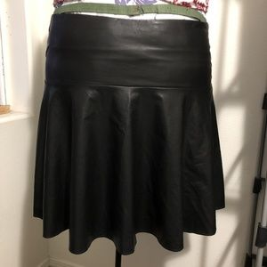 Black Pleather Drop-Waist Circle Skirt